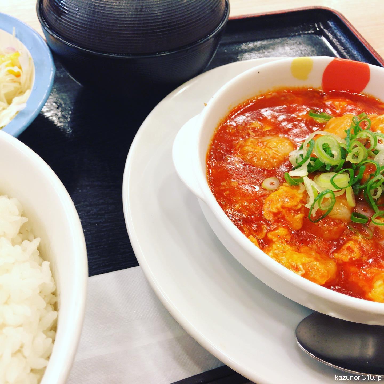 """<span class=""""title"""">#海老のチリソース定食 #松屋 辛くてプリプリエビが美味しいが、やや甘め</span>"""